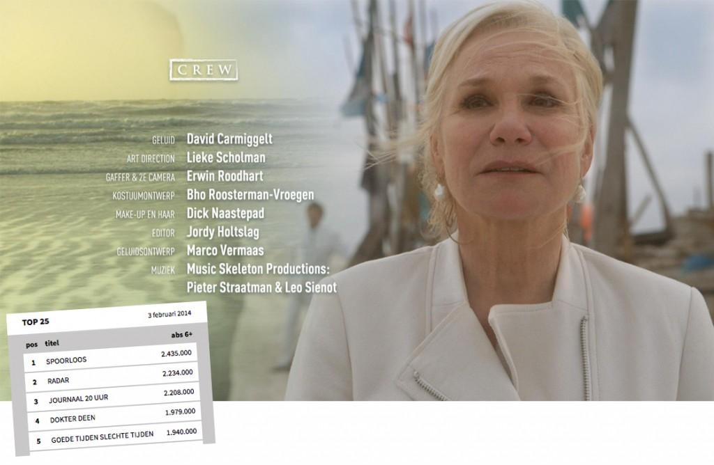 Eindshot laatste aflevering seizoen 2. Met links de kijkcijfers van die aflevering.